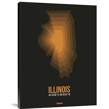 Naxart 'Illinois Radiant Map 5' Graphic Art Print on Canvas; 24'' H x 18'' W x 1.5'' D