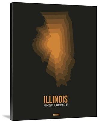Naxart 'Illinois Radiant Map 5' Graphic Art Print on Canvas; 24'' H x 18'' W x 1.5'' D
