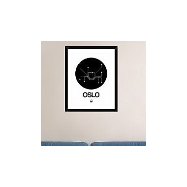 Naxart 'Oslo Black Subway Map' Framed Graphic Art Print; 30'' H x 24'' W x 1.5'' D