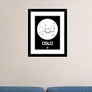 Naxart 'Oslo White Subway Map' Framed Graphic Art Print; 22'' H x 18'' W x 1.5'' D
