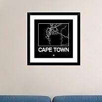 Naxart 'Black Map of Cape Town' Framed Graphic Art Print; 24'' H x 24'' W x 1.5'' D