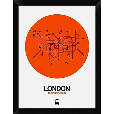 Naxart 'London Orange Subway Map' Framed Graphic Art Print on Canvas; 26'' H x 20'' W x 1.5'' D