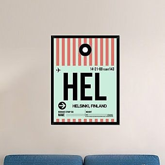 Naxart 'HEL Helsinki Luggage Tag I' Framed Graphic Art Print on Canvas; 42'' H x 32'' W x 1.5'' D