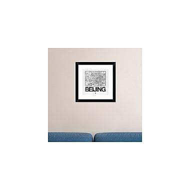Naxart 'White Map of Beijing' Framed Graphic Art Print; 18'' H x 18'' W x 1.5'' D
