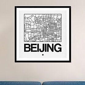 Naxart 'White Map of Beijing' Framed Graphic Art Print; 42'' H x 42'' W x 1.5'' D