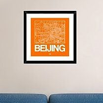 Naxart 'Orange Map of Beijing' Framed Graphic Art Print; 24'' H x 24'' W x 1.5'' D