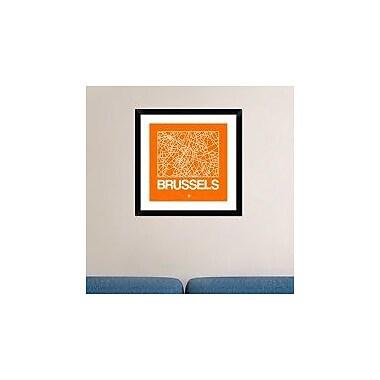Naxart 'Orange Map of Brussels' Framed Graphic Art Print; 24'' H x 24'' W x 1.5'' D