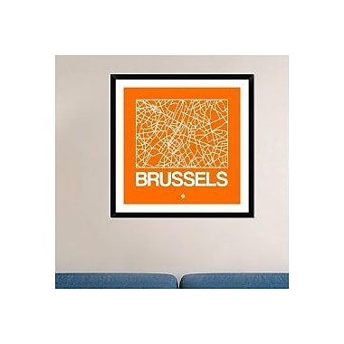 Naxart 'Orange Map of Brussels' Framed Graphic Art Print; 36'' H x 36'' W x 1.5'' D