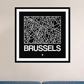Naxart 'Black Map of Brussels' Framed Graphic Art Print; 42'' H x 42'' W x 1.5'' D