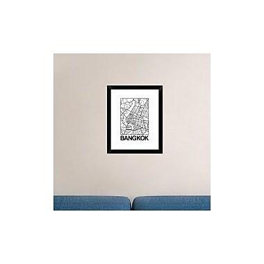 Naxart 'White Map of Bangkok' Framed Graphic Art Print; 22'' H x 18'' W x 1.5'' D