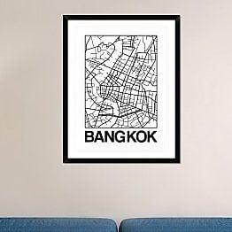 Naxart 'White Map of Bangkok' Framed Graphic Art Print; 38'' H x 30'' W x 1.5'' D