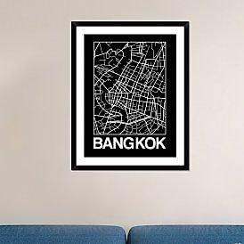 Naxart 'Black Map of Bangkok' Framed Graphic Art Print; 38'' H x 30'' W x 1.5'' D
