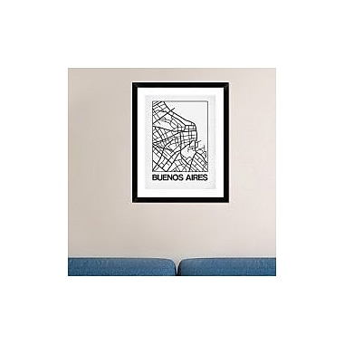 Naxart 'White Map of Buenos Aires' Framed Graphic Art Print; 30'' H x 24'' W x 1.5'' D