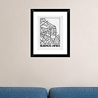 Naxart 'White Map of Buenos Aires' Framed Graphic Art Print; 22'' H x 18'' W x 1.5'' D