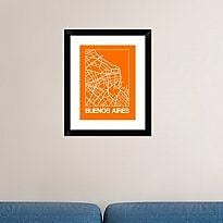 Naxart 'Orange Map of Buenos Aires' Framed Graphic Art Print; 22'' H x 18'' W x 1.5'' D