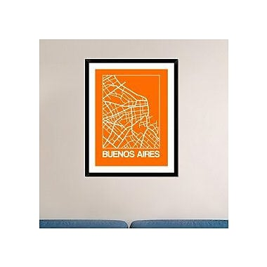 Naxart 'Orange Map of Buenos Aires' Framed Graphic Art Print; 38'' H x 30'' W x 1.5'' D