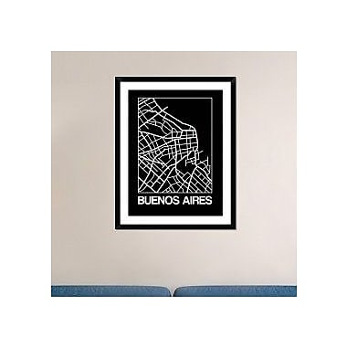Naxart 'Black Map of Buenos Aires' Framed Graphic Art Print; 38'' H x 30'' W x 1.5'' D