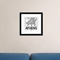 Naxart 'White Map of Athens' Framed Graphic Art Print; 18'' H x 18'' W x 1.5'' D