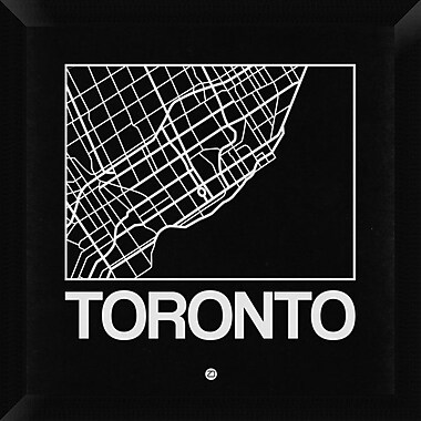 Naxart 'Black Map of Toronto' Framed Graphic Art Print on Canvas; 20'' H x 20'' W x 1.5'' D