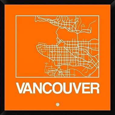 Naxart 'Orange Map of Vancouver' Framed Graphic Art Print on Canvas; 32'' H x 32'' W x 1.5'' D