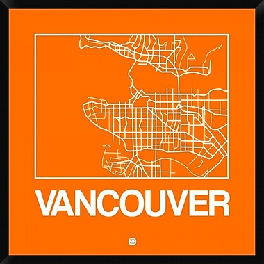Naxart 'Orange Map of Vancouver' Framed Graphic Art Print on Canvas; 38'' H x 38'' W x 1.5'' D