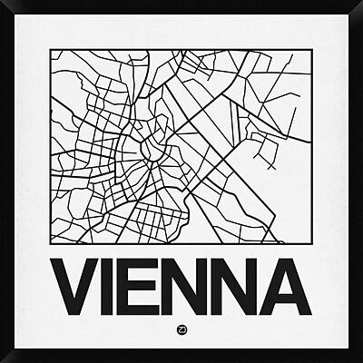 Naxart 'White Map of Vienna' Framed Graphic Art Print on Canvas; 32'' H x 32'' W x 1.5'' D