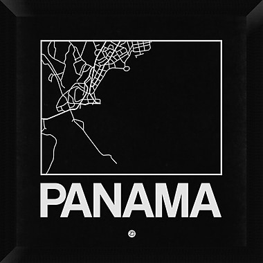 Naxart 'Black Map of Panama' Framed Graphic Art Print on Canvas; 20'' H x 20'' W x 1.5'' D