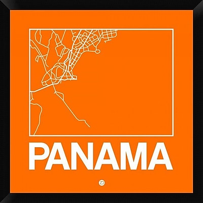 Naxart 'Orange Map of Panama' Framed Graphic Art Print on Canvas; 26'' H x 26'' W x 1.5'' D