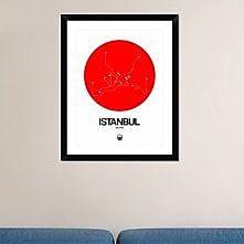 Naxart 'Istanbul Red Subway Map' Framed Graphic Art Print; 30'' H x 24'' W x 1.5'' D