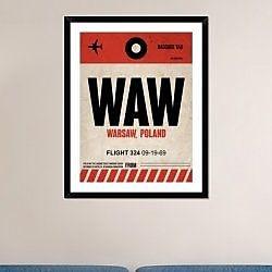 Naxart 'WAW Warsaw Luggage Tag I' Framed Graphic Art Print; 38'' H x 30'' W x 1.5'' D