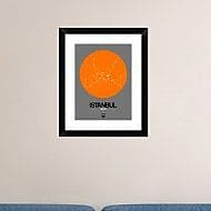 Naxart 'Istanbul Orange Subway Map' Framed Graphic Art Print; 22'' H x 18'' W x 1.5'' D