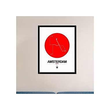 Naxart 'Amsterdam White Subway Map' Framed Graphic Art Print; 38'' H x 30'' W x 1.5'' D