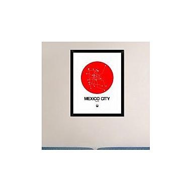 Naxart 'Mexico City Red Subway Map' Framed Graphic Art Print; 30'' H x 24'' W x 1.5'' D
