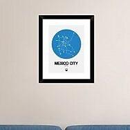 Naxart 'Mexico City Blue Subway Map' Framed Graphic Art Print; 22'' H x 18'' W x 1.5'' D
