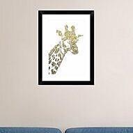 Naxart 'Giraffe' Framed Graphic Art Print; 24'' H x 18'' W x 1.5'' D