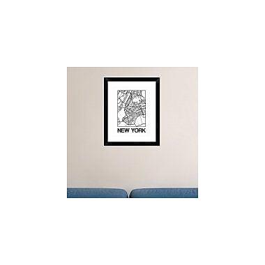 Naxart 'White Map of New York' Framed Graphic Art Print; 22'' H x 18'' W x 1.5'' D