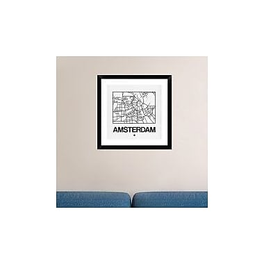 Naxart 'White Map of Amsterdam' Framed Graphic Art Print; 24'' H x 24'' W x 1.5'' D