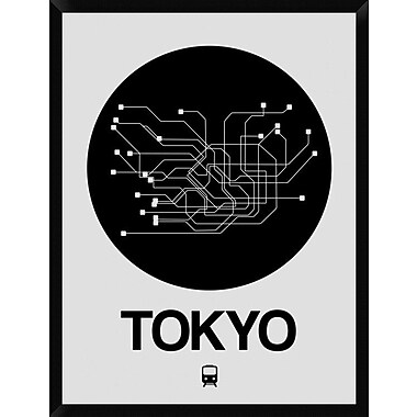 Naxart 'Tokyo Black Subway Map' Framed Graphic Art Print on Canvas; 42'' H x 32'' W x 1.5'' D