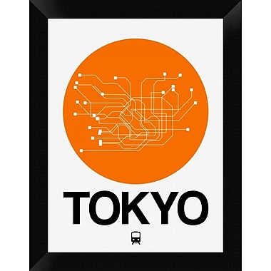 Naxart 'Tokyo Orange Subway Map' Framed Graphic Art Print on Canvas; 18'' H x 14'' W x 1.5'' D