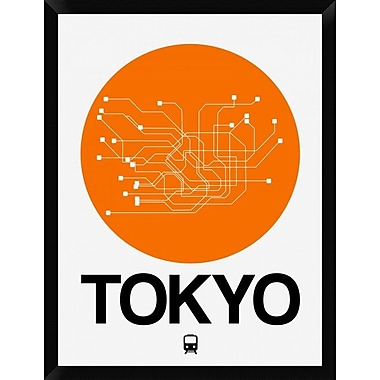 Naxart 'Tokyo Orange Subway Map' Framed Graphic Art Print on Canvas; 34'' H x 26'' W x 1.5'' D