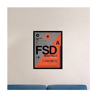 Naxart 'FSD Sioux Falls Luggage Tag I' Framed Graphic Art Print on Canvas; 34'' H x 26'' W x 1.5'' D