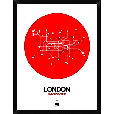 Naxart 'London Red Subway Map' Framed Graphic Art Print on Canvas; 34'' H x 26'' W x 1.5'' D