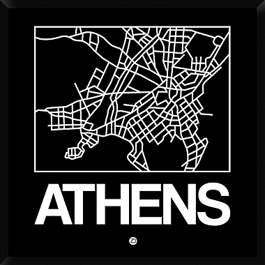 Naxart 'Black Map of Athens' Framed Graphic Art Print on Canvas; 42'' H x 42'' W x 1.5'' D