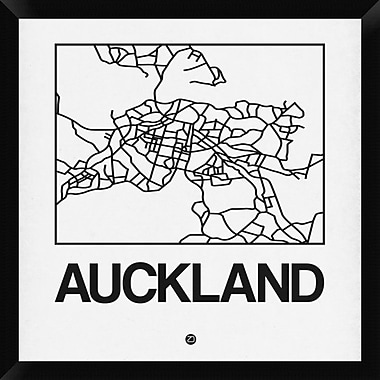 Naxart 'White Map of Auckland' Framed Graphic Art Print on Canvas; 26'' H x 26'' W x 1.5'' D
