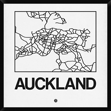 Naxart 'White Map of Auckland' Framed Graphic Art Print on Canvas; 38'' H x 38'' W x 1.5'' D