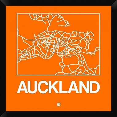 Naxart 'Orange Map of Auckland' Framed Graphic Art Print on Canvas; 26'' H x 26'' W x 1.5'' D