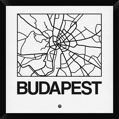 Naxart 'White Map of Budapest' Framed Graphic Art Print on Canvas; 26'' H x 26'' W x 1.5'' D