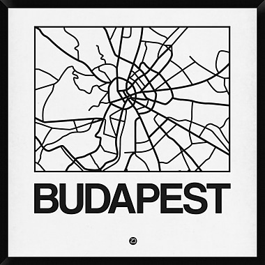 Naxart 'White Map of Budapest' Framed Graphic Art Print on Canvas; 42'' H x 42'' W x 1.5'' D