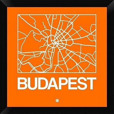Naxart 'Orange Map of Budapest' Framed Graphic Art Print on Canvas; 20'' H x 20'' W x 1.5'' D