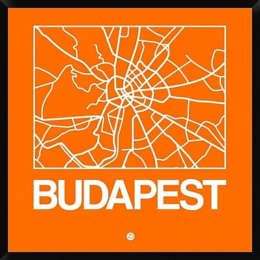 Naxart 'Orange Map of Budapest' Framed Graphic Art Print on Canvas; 42'' H x 42'' W x 1.5'' D